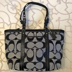 Coach Monogrammed Tote Black